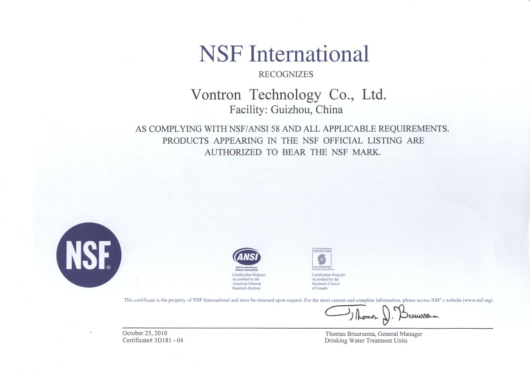 Chứng nhận NSF của màng lọc RO VONTRON