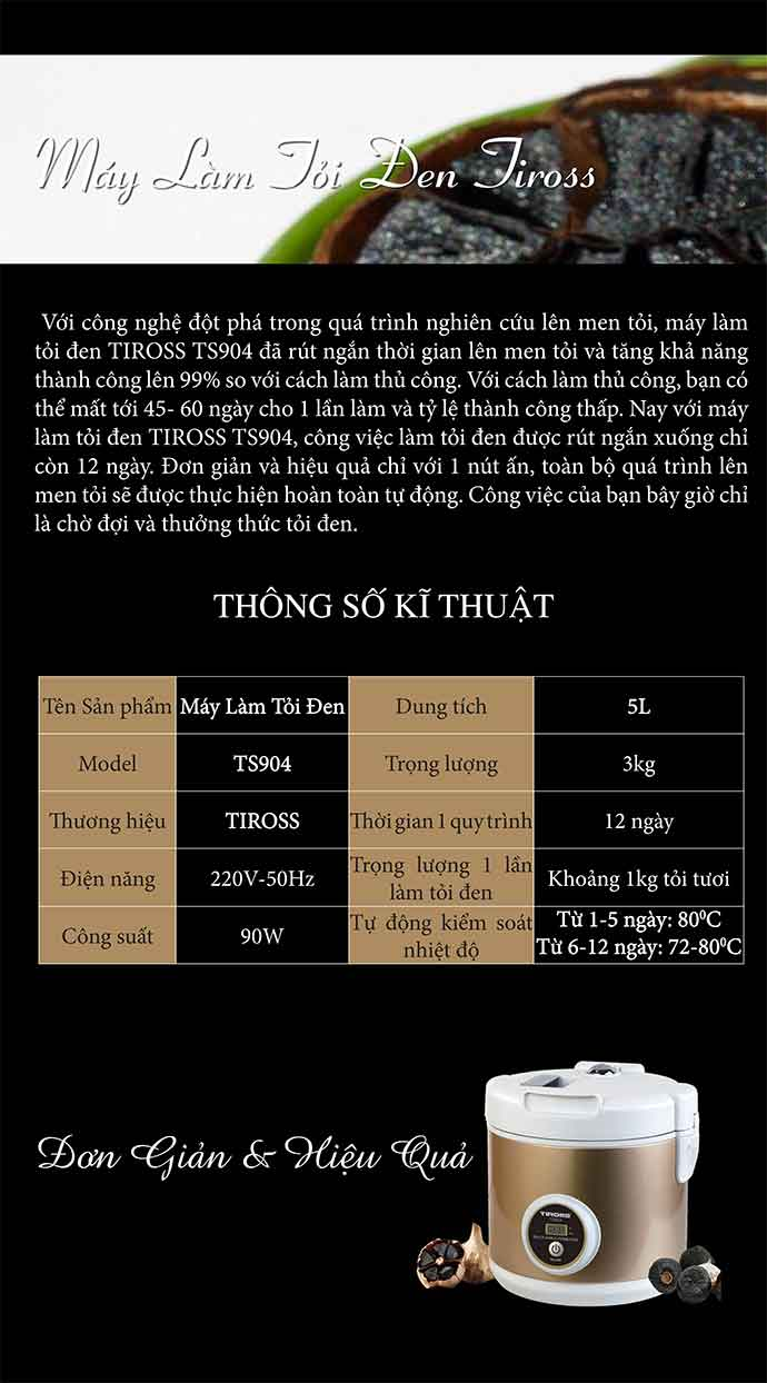 Máy làm tỏi đen Tiross TS904 dành cho gia đình bạn