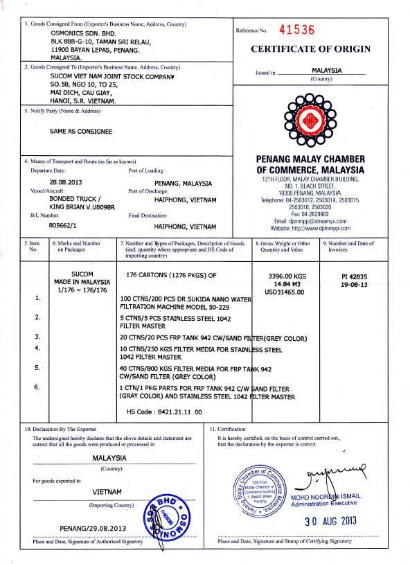 Chứng nhận xuất xứ Máy lọc nước nano DrSukida DR 50-229